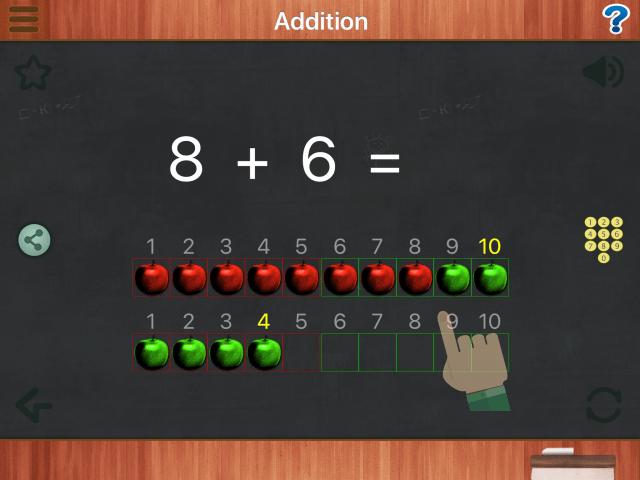 図:Math Animationsで8+6を計算する画面