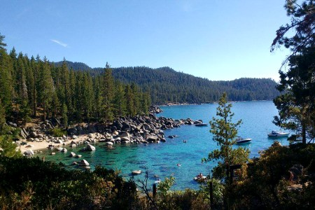 Beautiful blue waters of East Lake Tahoe, for Ellen Blazer's travel blog To Travel and Bloom