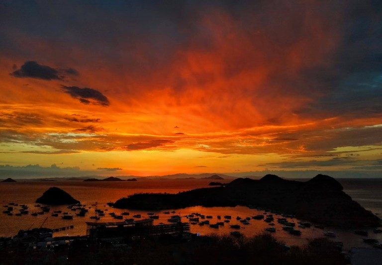 A sunset over Komodo National Park from Labuan Bajo, Flores, Indonesia