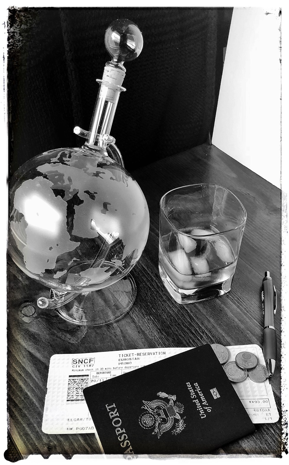 Black and White Travel Drinks and Passport