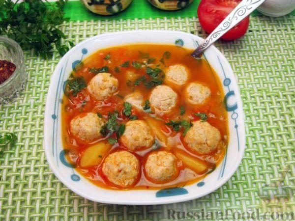 Томатный суп с чечевицей и куриными фрикадельками ...