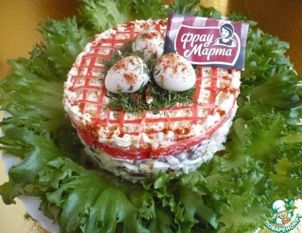 Салат с фасолью и крабовыми палочками   totrecept.com