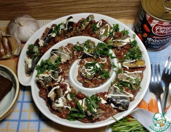 Салат с фасолью и сайрой   totrecept.com