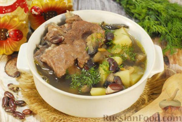 Суп с шампиньонами и фасолью на говяжьем бульоне ...