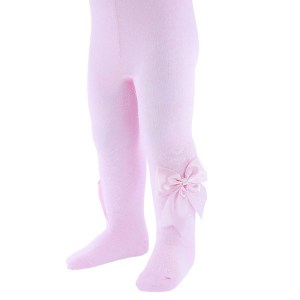 pink baby tights with bows