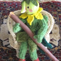 Green crafts -Twig buttons with spool knitted cords