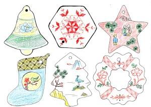 九谷焼陶器クリスマスオーナメント図案A