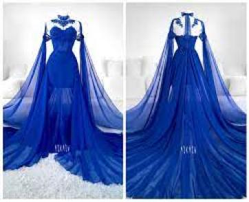 sapphire #blue #cobalt #gown #goth #lace #mesh #train #fashion #alternative #askasu #bluedress #fairy #faerie… | Fantasy dress, Blue wedding dresses, Fantasy gowns