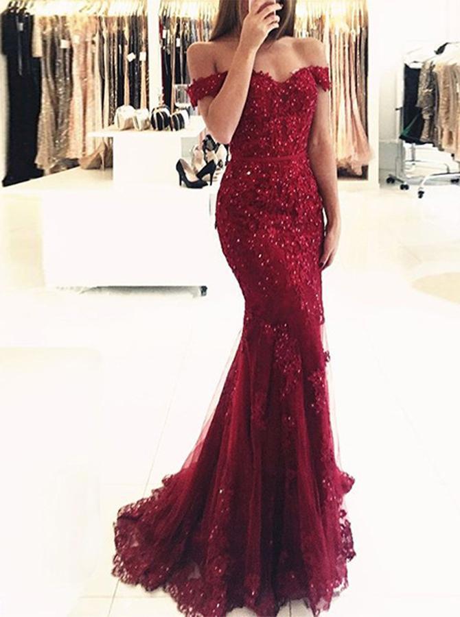 Burgundy Mermaid Evening Dress,Lace Off the Shoulder Evening Dress,Tig -  Wishingdress