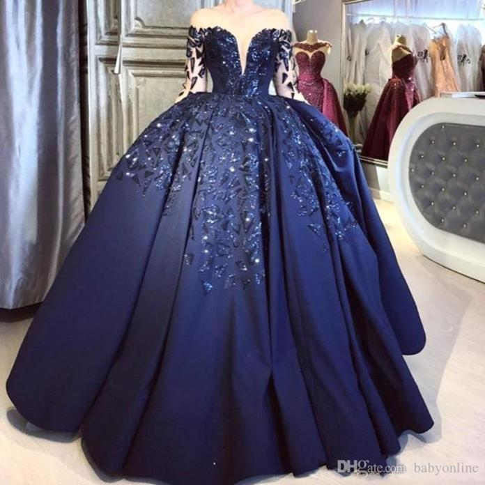 Plus Size Elegant Navy Blue Ball Gown Quinceanera Dress Off Shoulder Long Sleeve Sequins Puffy Formal Evening Prom Pageant Party Dresses From Weddingpalacedress, $146.85 | DHgate.Com