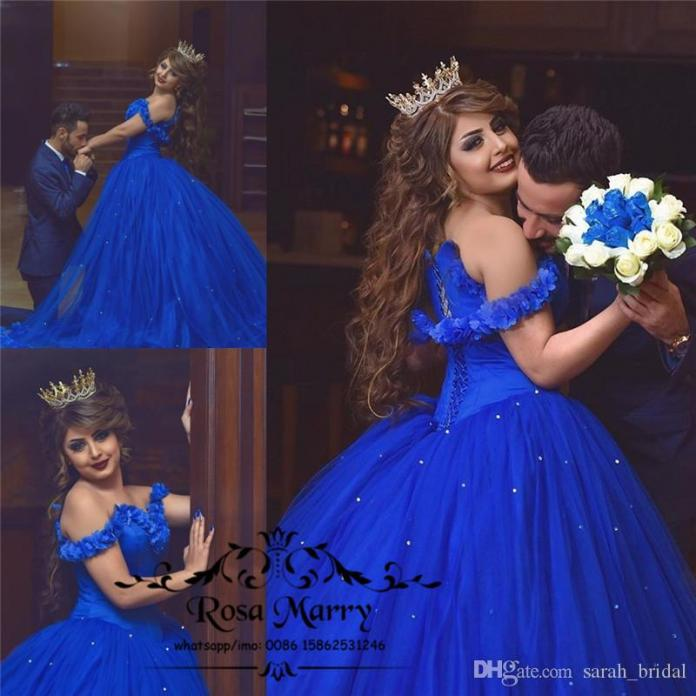 Royal Blue Cinderella Ball Gown Wedding Dresses 3D Flowers Off Shoulder Arabic Muslim Crystals Tulle Skirt 2020 Victorian Cheap Bridal Gowns From Sarah_bridal, $232.17 | DHgate.Com