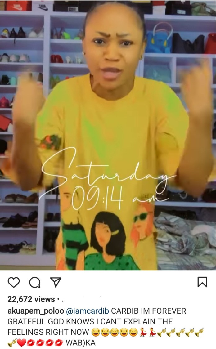 Akuapem Poloo goes on her knees to thank Cardi B after the US rapper posted her on her Instagram Stories (video)