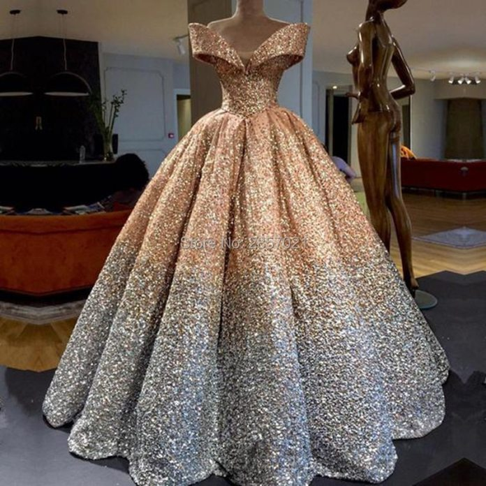 2018 Luxury Sequins Ball Gown Evening Dresses Floor Length Draped Prom  Dresses Elegant Off the Shoulder Formal Evening Gowns|Evening Dresses| -  AliExpress