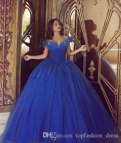 Royal Blue Cinderella Quinceanera Dresses Ruched Sexy Off The Shoulder Tulle Custom Made Ball Gown Tulle Sweet 16 Pageant Gown From Topfashion_dress, $158.2 | DHgate.Com