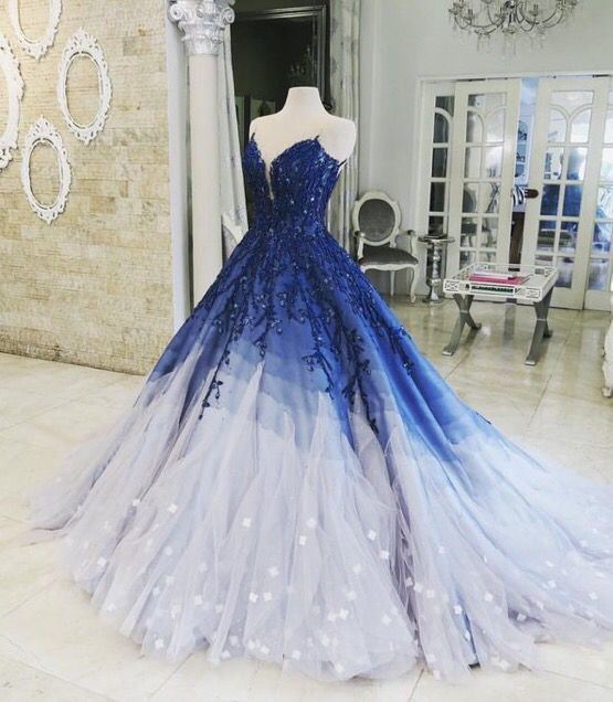 Pin by 정은 이 on My Style | Prom dresses long blue, Royal blue prom dresses, Ombre prom dresses