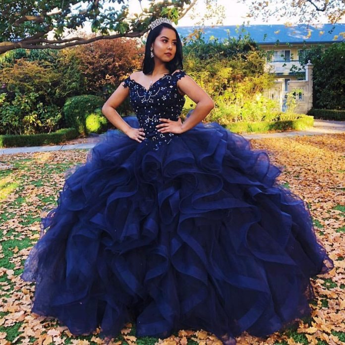 Navy Blue Quinceanera Dresses 2020 Ruffles Ball Gown Off the Shoulder Beads Crystal Applique Sweet 16 Dress Vestidos De 15 Anos|Quinceanera Dresses| - AliExpress