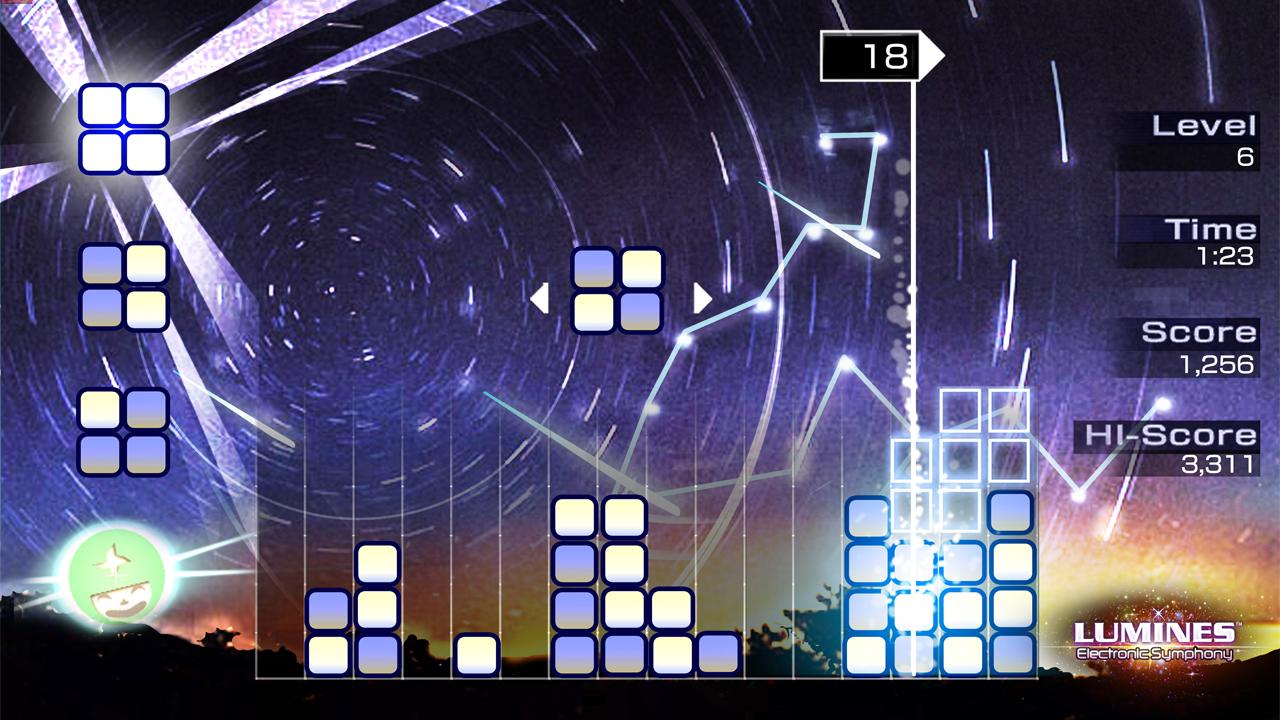 Lumines è un gioco che si basa sulla rapida deduzione di quale sia il miglior posizionamento dei diversi blocchi che rischiano altrimenti di occupare tutto il quadro