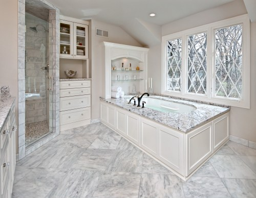 Marble stone bathroom tile remodel in Minnetonka, MN