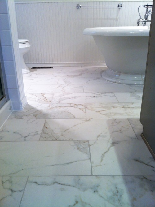 Porcelain 12x24 bathroom floor remodel in Plymouth, MN