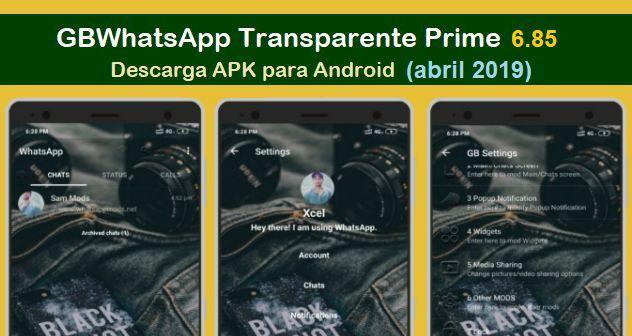 descargar gbwhatsapp transparente prime 6.85