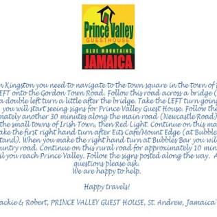 Wegbeschreibung Prince Valley Guesthouse Jamaika
