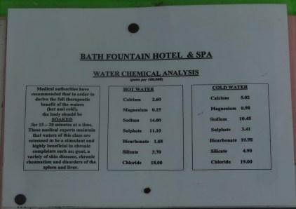 Wasseranylyse Minearlquelle Bath Jamaika