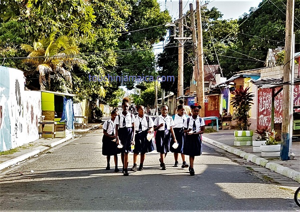 schoolgirls parade gardens