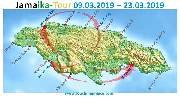 Jamaika-Tour 2019: Montego Bay -> St.Ann's Bay -> Parottee Bay -> Kingston -> Montego Bay