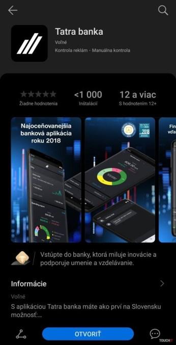 Tatra banka v Huawei AppGallery