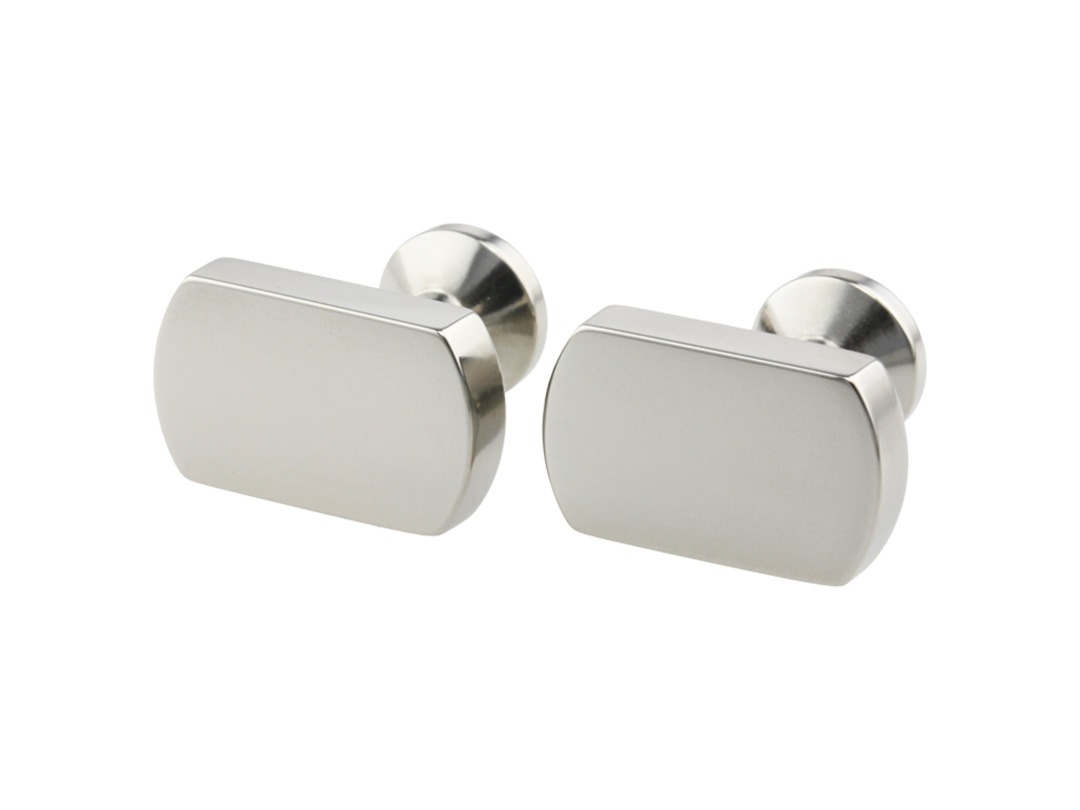 Flat rectangular cufflinks on TouchTitanium.com Strong, elegant and super light-weight, our cufflinks are lathed from solid titanium bar. Each one is precision machined and hand finished for superior quality and lasting strength.