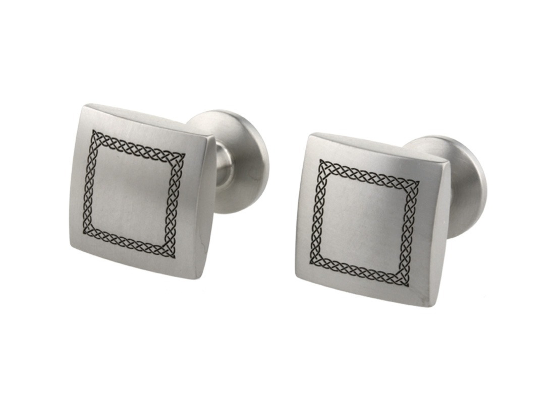 Celtic engraved cufflinks on TouchTitanium.com Strong, patriotic and super light-weight, our engraved cufflinks are lathed from solid titanium bar. Each one is precision machined and hand finished for superior quality and lasting strength. Finished in a brushed texture.