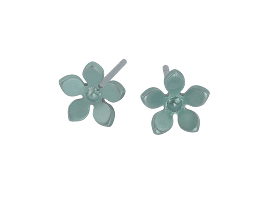 Flower studs on TouchTitanium.com Take a piece of nature with you, our perfectly formed five-petal titanium flower studs are perfect for a fun occasion. Handmade in titanium measuring 8mm diameter with titanium butterfly clasps included. Available in a range of bright colours. These perfect little studs are hypoallergenic and safe to wear for all skin types.