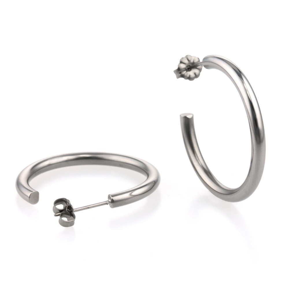 Polished Round hypoallergenic hoop earrings made from titanium