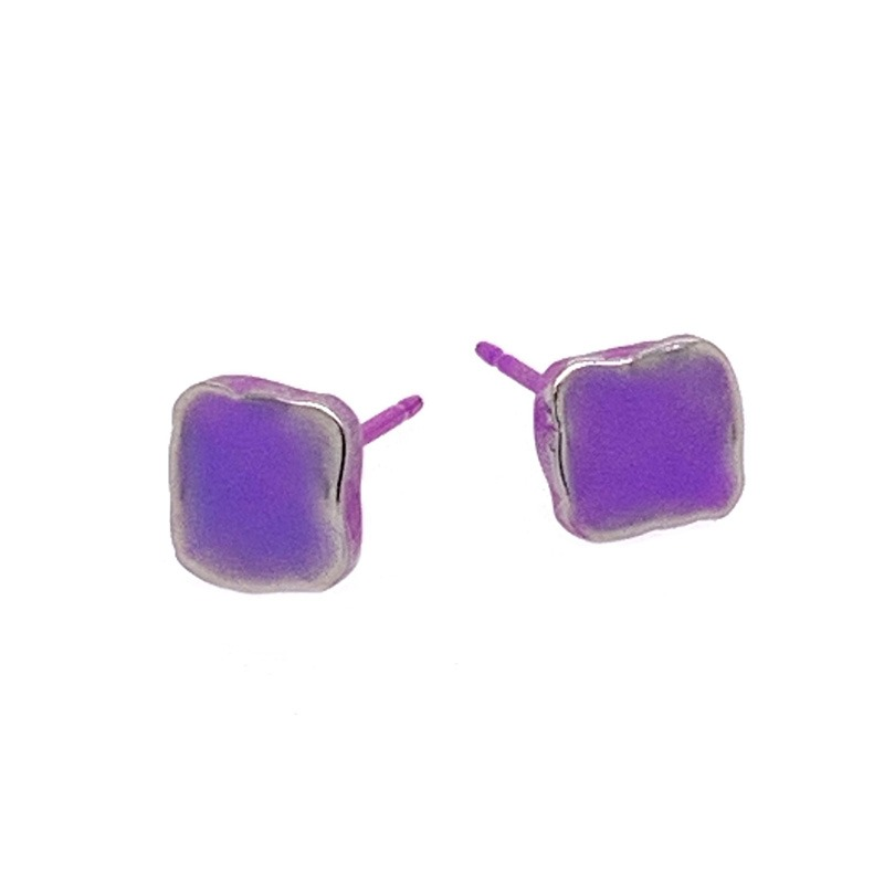 Purple Titanium studs. Hypoallergenic jewellery from TouchTitanium.com