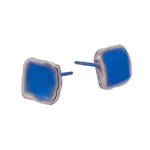 Navy blue Titanium studs. Hypoallergenic jewellery from TouchTitanium.com