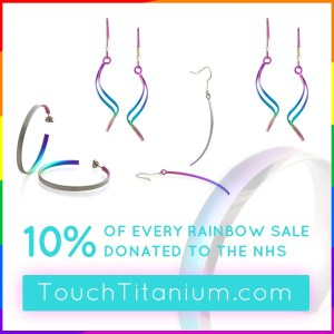 We're in this together (Covid-19 rainbow donation) on TouchTitanium.com Our single twist drops - much like the double twist drops - are a popular model in the wire range. Featuring one perfect curve measuring 40mm tall. Available in a select range of colours, including rainbow.