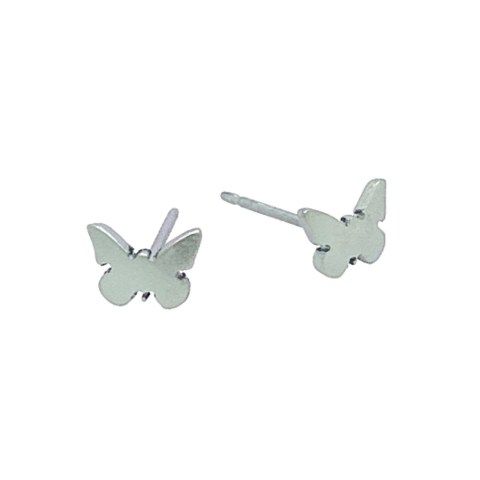 Light blue Titanium butterfly studs. Hypoallergenic jewellery from TouchTitanium.com