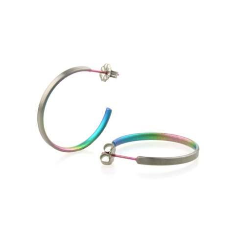 Rainbow Hypoallergenic titanium hoop earrings
