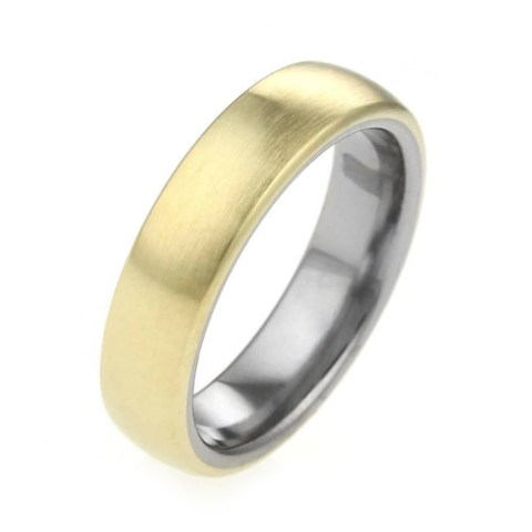 Titanium and gold mixed metal wedding band.