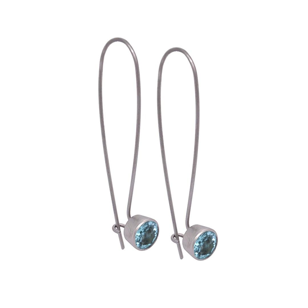 Titanium drop earrings featuring beautiful gemstones