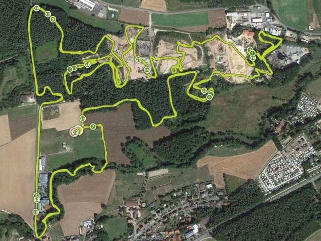 Hindernislauf Bayern, Runterra 2015, Karte Streckenverlauf