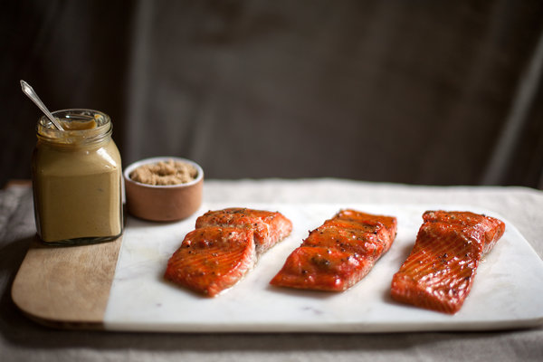 Roasted Salmon Glazed With Brown Sugar and Mustard