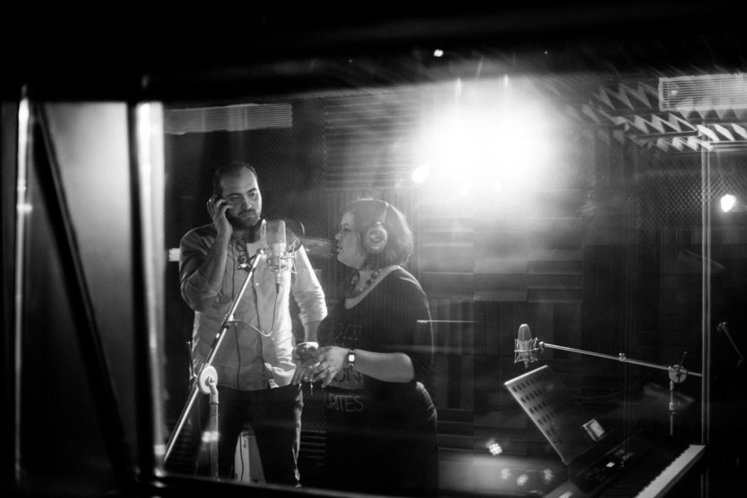 Amani et Atef en studio © Mehdi Drissi