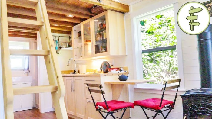 Tour This Extra Wide Tiny House with a Unique Folding Ladder