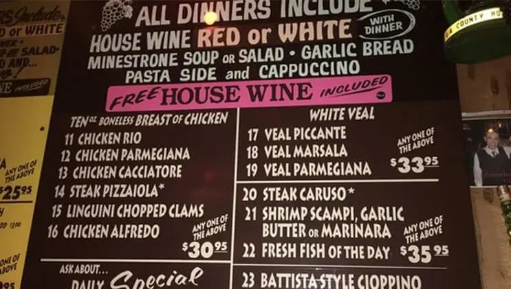 Batista's Hole In The Wall Menu
