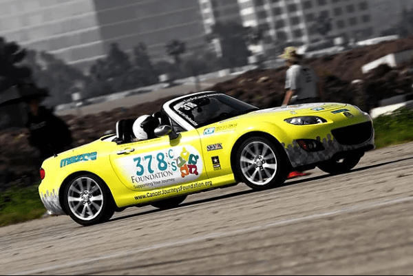 Picture of Cancer Journeys Foundation 378 Mazda Miata competing for cancer awareness