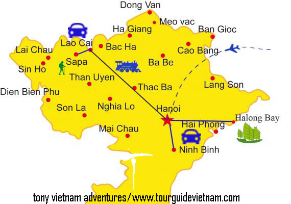 North vietnam map 123 Ba Be 8211 Ban Gioc waterfall itinerary 4 Days from Hanoi