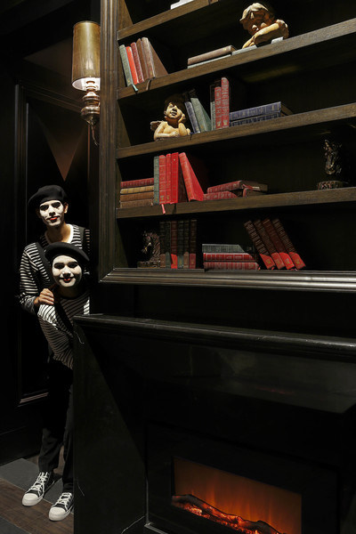 book shelf with mimes