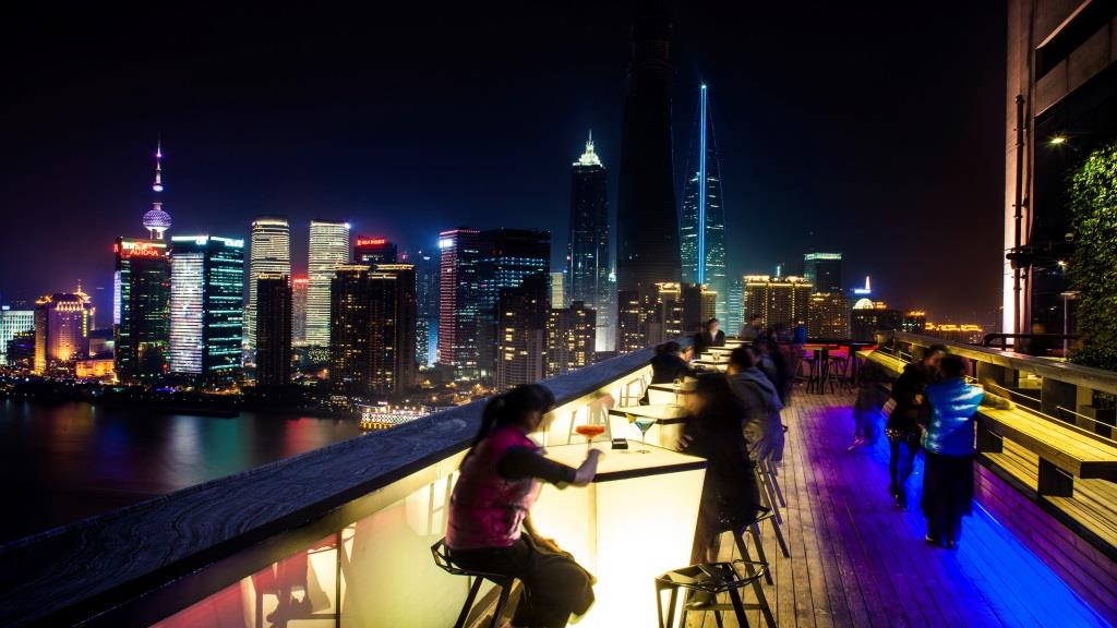 CHAR bar terrace night view with people