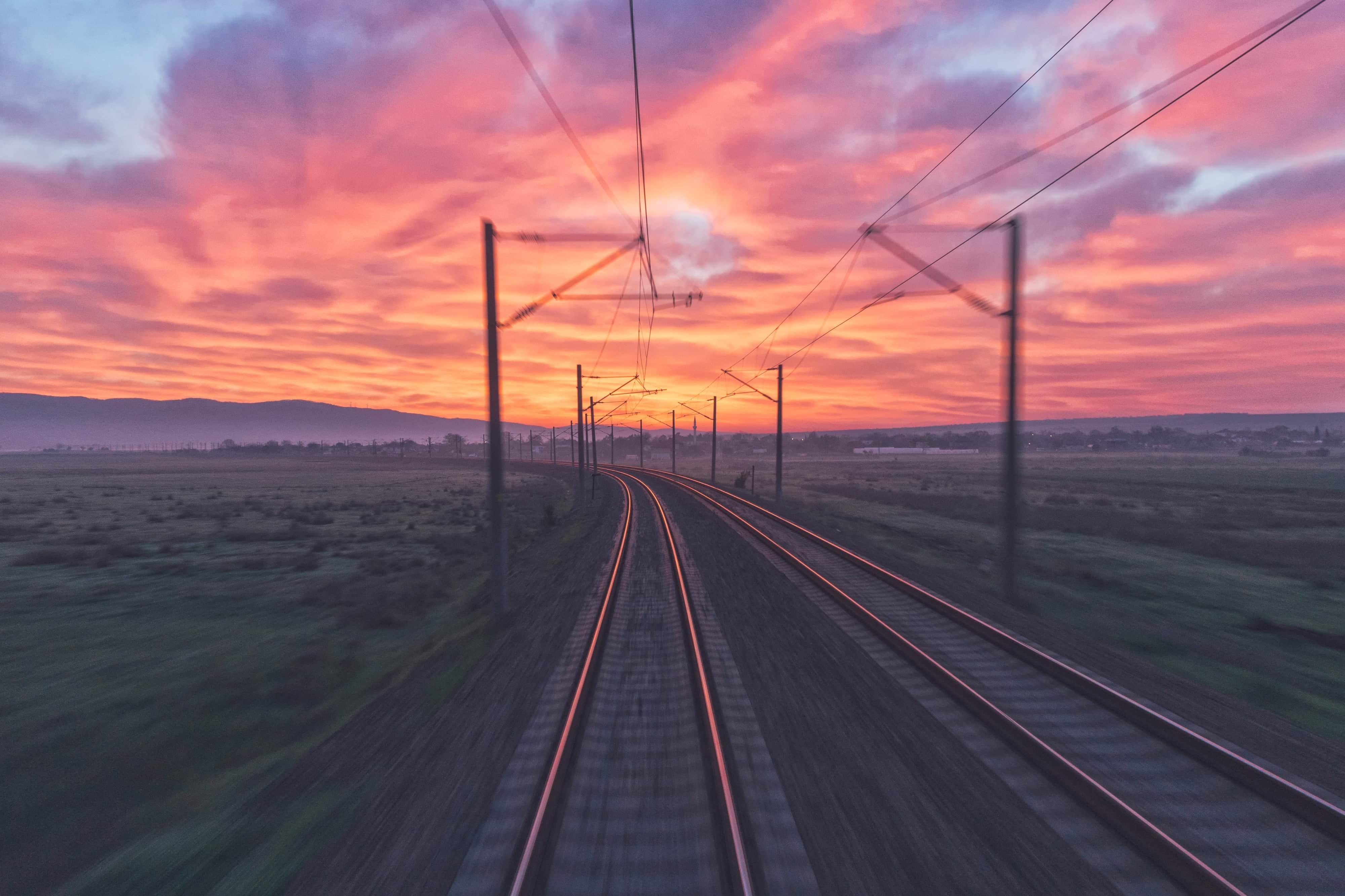 spoor zonsondergang